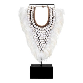 Feather and Shell Necklace on Stand