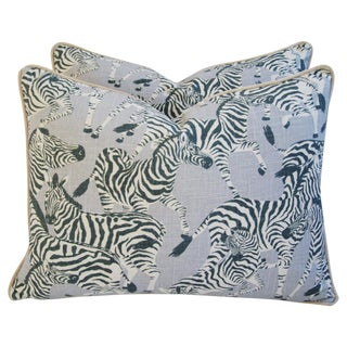Custom Safari Zebra Linen & Velvet Feather/Down Pillows - a Pair