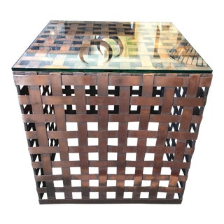 Woven Copper & Glass Side Table