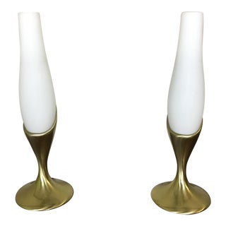 Brass and Frosted Glass Boudoir Lamps - a Pair
