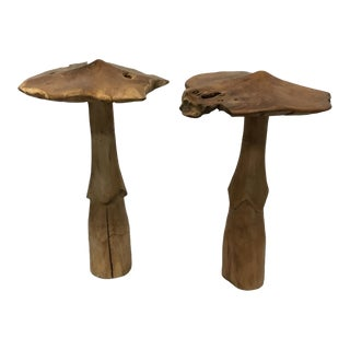 Carved Wood Mushrooms Decorations - A Pair