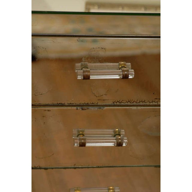 Mirrored Art Deco Three Drawer Chest with Brass Accents - Image 8 of 9