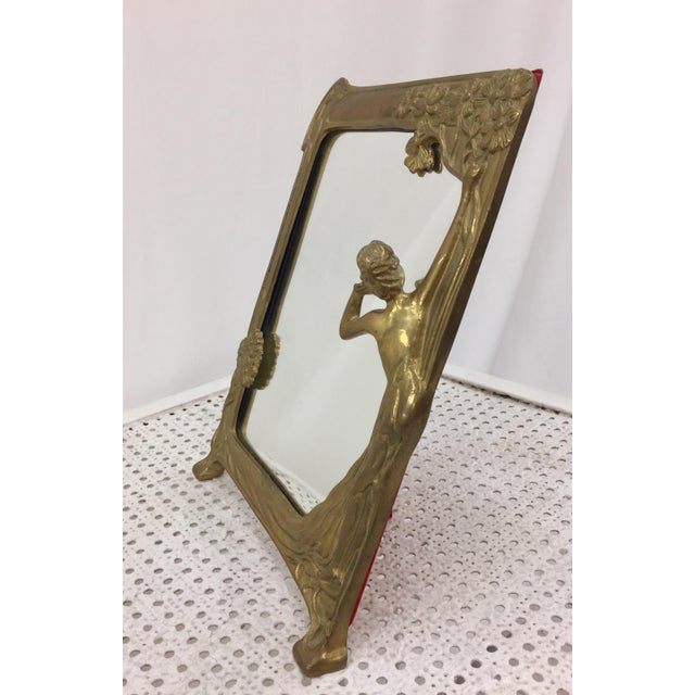 "Art Nouveau Brass Mirror "" Lady by the Lake "" - Image 7 of 8"