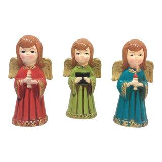 Vintage Caroling Angels Tabletop Ornaments - Set of 3