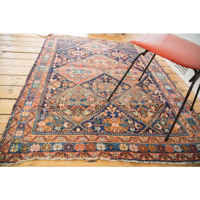 """Antique Distressed Afshar Square Rug - 4'4"""" X 5'7"""" - Image 2 of 9"""