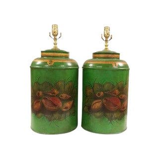 Chinese Export English Round Tea Caddy Lamps in Sea Shells Design - A Pair