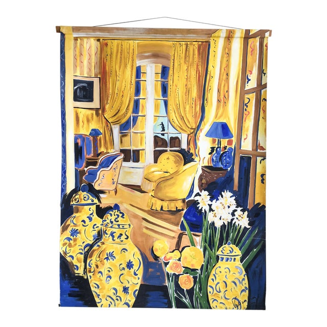Cheerful French Salon Scene in Blue & Yellow - Image 1 of 10