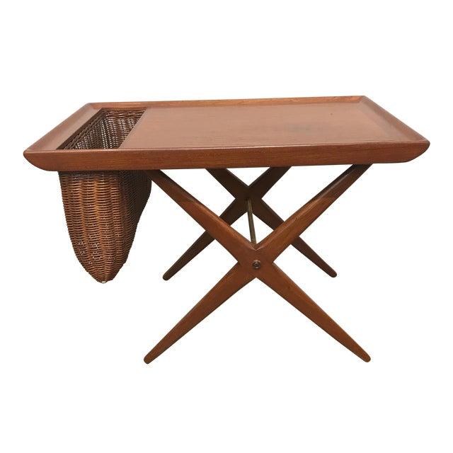 Teak X-Base Side Table W/ Magazine Basket - Image 1 of 5