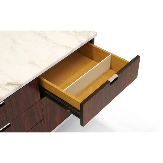 Exceptional Florence Knoll Marble-Top Rosewood Credenza - Image 5 of 9
