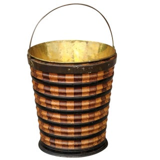 Dutch Peat Bucket of Wood and Brass with Handle from the 1860s