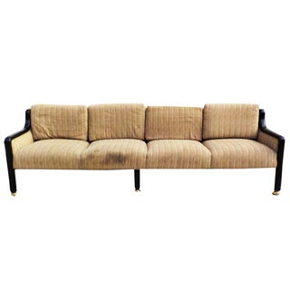 Vintage Art Deco Style Ebony Wood Four Seater Sofa