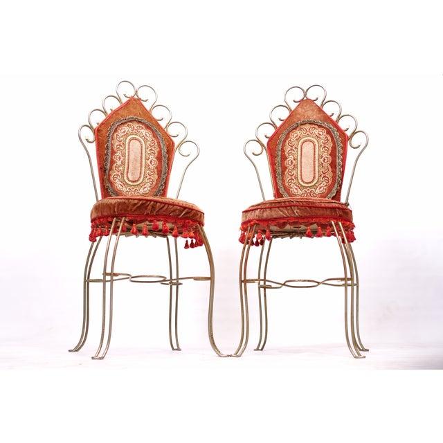 Scrolled Metal Bohemian Vanity Chairs - Pair - Image 2 of 5
