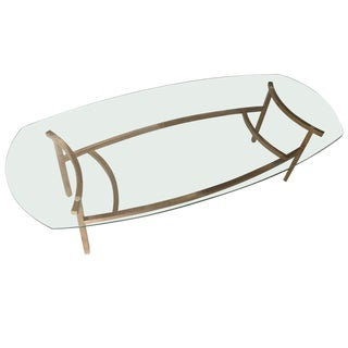 Oval Brass and Glass Coffee Table