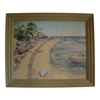 1940 Plein Air Beach Cove Oil Painting