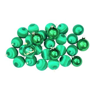 Vintage Glass and Satin Green Ornaments - Set of 28