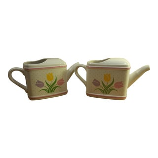 Ceramic Watering Pitcher Planters - A Pair