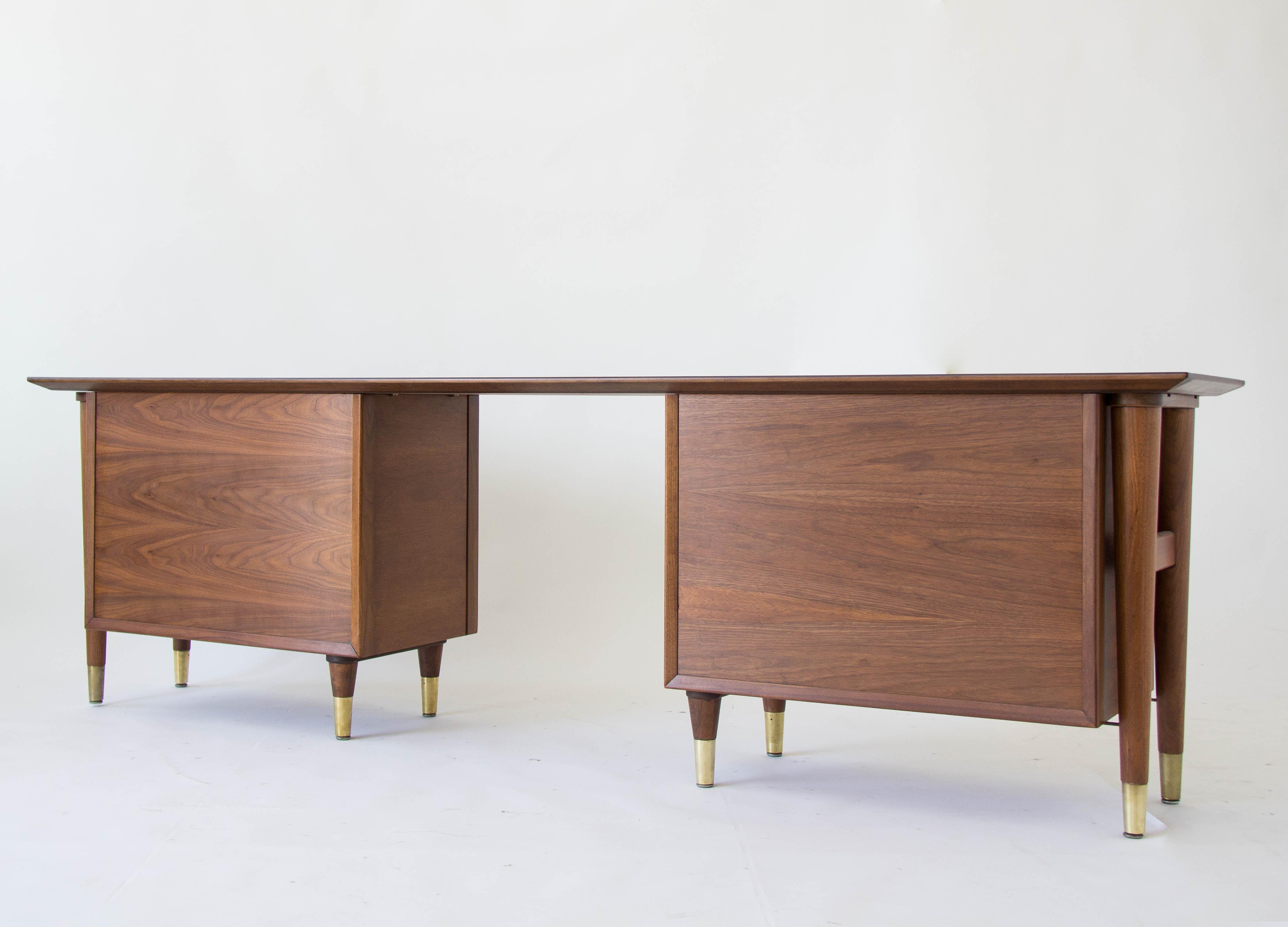 Standard Furniture Co Walnut & Brass Credenza