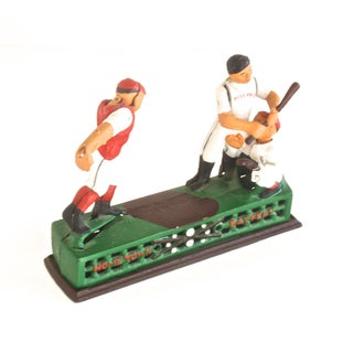 Cast Iron Mechanical Baseball Bank