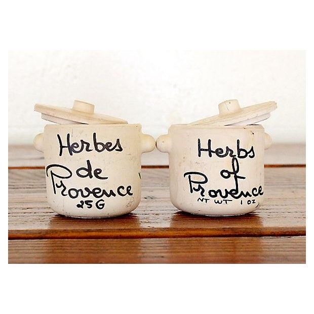 Image of Vintage Herbs de Provence Terracotta Jars - A Pair