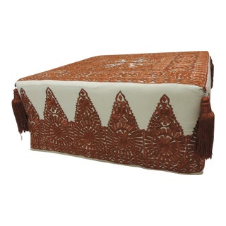 Modern Moroccan Orange Embroidered Square Ottoman with Tassels