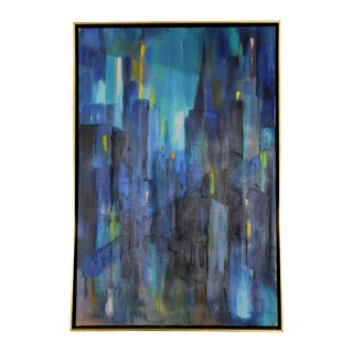 Blue Abstract Oil on Canvas Mid-Century Cityscape