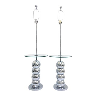 Mid-Century Modern Chrome Ball Glass Top Table Floor Lamps - A Pair
