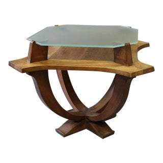 Art Deco Wood & Glass Table