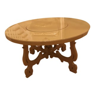 Neoclassical Beige Dining Table With Lazy Susan