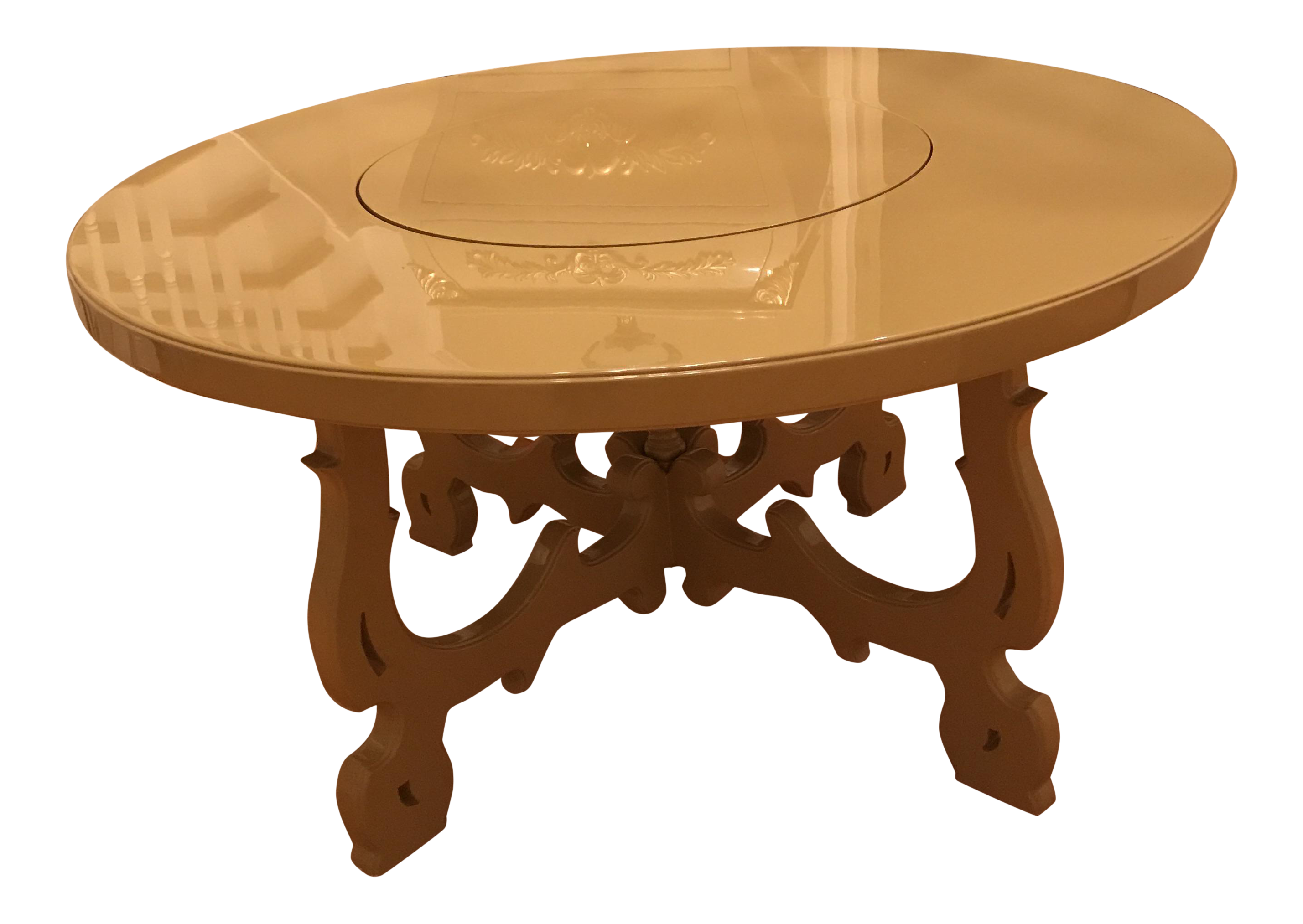 beige dining table with lazy susan