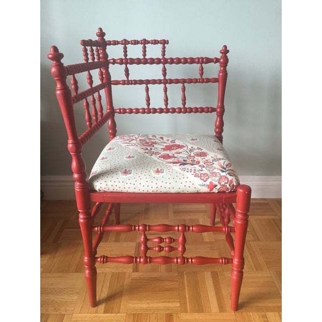 Turned Wood Corner Chair with Upholstered Seat - Image 3 of 11
