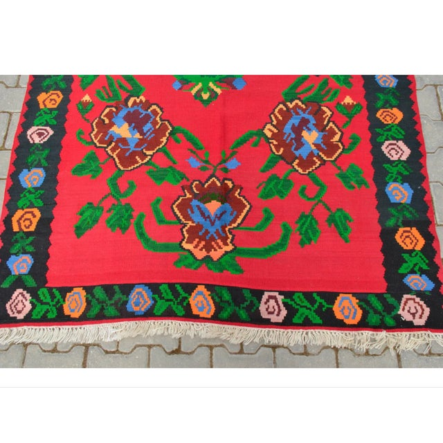 Turkish Hand-Woven Wool Kilim Rug - 5′3″ × 7′5″ - Image 5 of 8