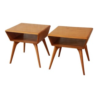 Mid-Century Heywood Wakefield Champagne Side Tables - a Pair