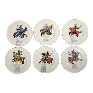"Mid-Century ""Knights of England"" Collectible Plates - Set of 6"