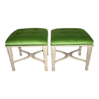 A Pair of Directoire Style Green Ottomans
