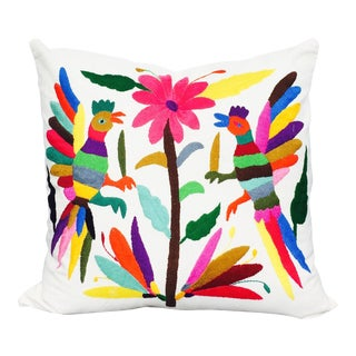 Otomi Pillowcase, Hand Embroidered From Mexico