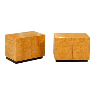 Beautiful Pair of Vintage Bookmatched Olive Wood End Tables or Night Stands