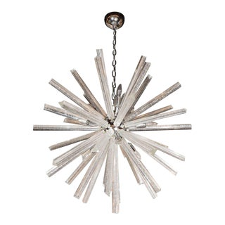 Murano Glass Triedre Chrome Sputnik Chandelier with 24-Carat White Gold Flecks