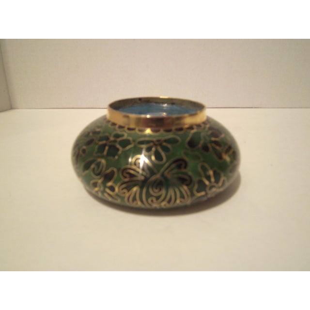 Image of Emerald Green Cloisonne Footed Bowl