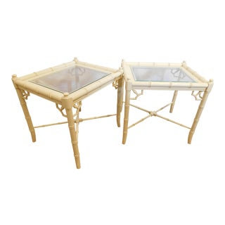 Vintage Faux Bamboo Chippendale Side Tables - A Pair