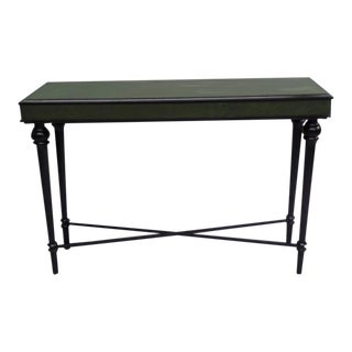 Ebonized French Modern Neoclassical Console with Leather Top