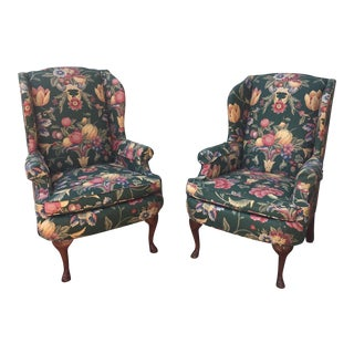 Green & Blue Floral Upholstered Wingback Flare Chairs- A Pair