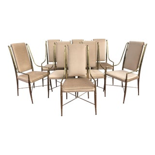 Mastercraft Faux Bamboo Brass Dining Chairs - Set of 8
