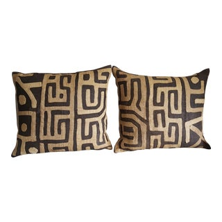 African Kuba Cloth Pillows - A Pair
