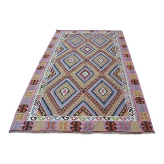 "Vintage Turkish Kilim Rug - 4'11"" X 8'2"""