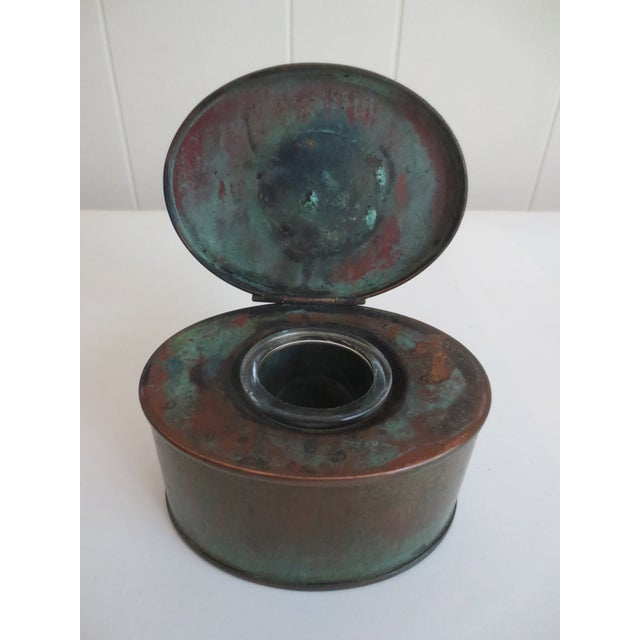 Antique Brass Inkwell With Glass Liner - Image 3 of 3