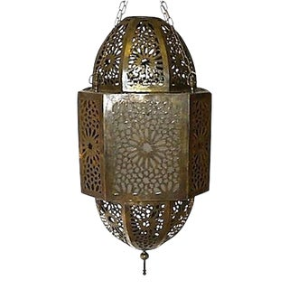 Moroccan Hand-Carved Brass Pendant