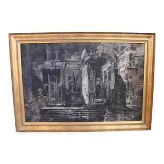 Vintage Painting of Roman Ruins at Night