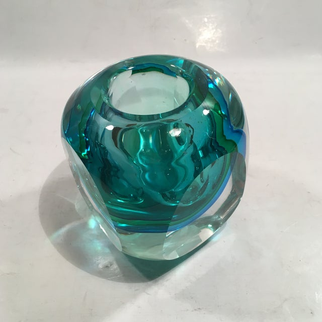 Crystal Cased Green & Blue Glass Candle Holder - Image 7 of 8