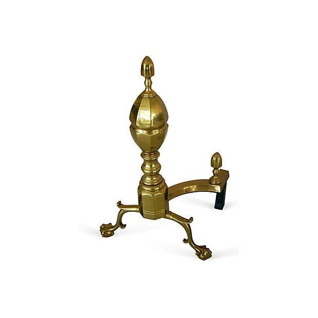 Image of 1950s French-Style Brass Andirons