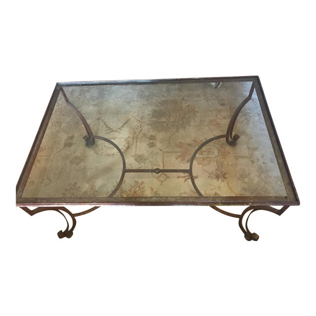 Large Rectangular Iron Glass Top Coffee Table - Image 1 of 4